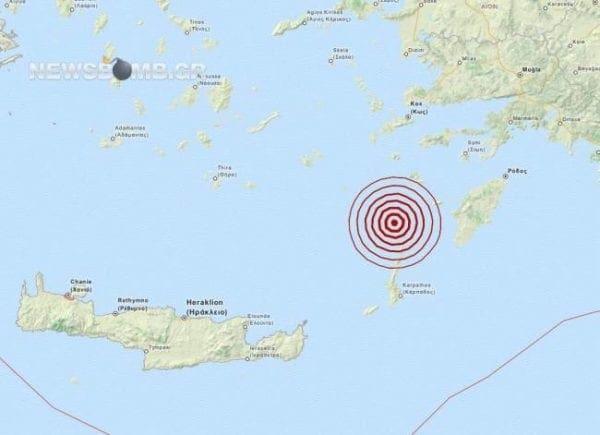 Σεισμός 4,0 Ρίχτερ βόρεια της Καρπάθου