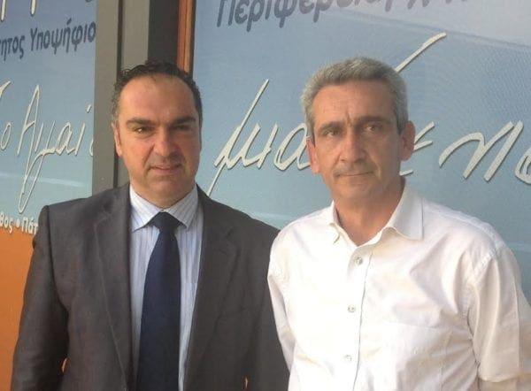 Ο Γιάννης Φλεβάρης μαζί με τον Γιώργο Χατζημάρκο στον αγώνα της Περιφέρειας