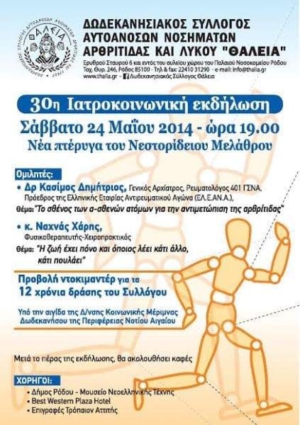 """30η Ιατροκοινωνική εκδήλωση από τον Δωδεκανησιακό Σύλλογο """"ΘΑΛΕΙΑ"""""""
