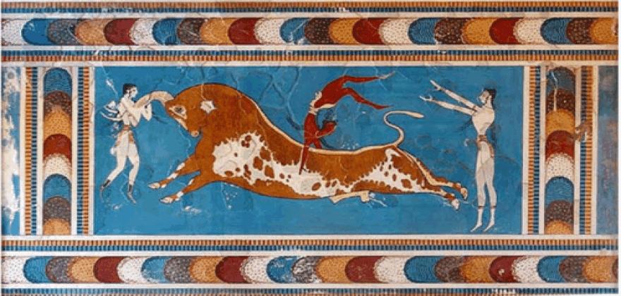 Μινωίτες ακροβασίες σε ταύρο