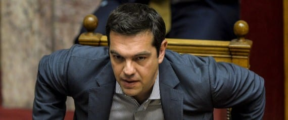Greek Prime Minister Alexis Tsipras takes part at a joint session of four committees of the Parliament (Economic, Social, Public Administration and Production and Trade) at the Greek Parliament in Athens on July 10, 2015. Lawmakers in Greece are to vote whether to back a last-ditch reform plan the government submitted to creditors overnight in a bid to stave off financial collapse and exit from the Eurozone. Greece's international creditors believe its latest debt proposals are positive enough to be the basis for a new bailout worth 74 billion euros, an EU source said June 10. AFP PHOTO/ANDREAS SOLARO        (Photo credit should read ANDREAS SOLARO/AFP/Getty Images)