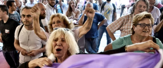 ATHENS, GREECE - SEPTEMBER 20:   Supporters of radical leftist Syriza party Alexis Tsipras cheer at exit poll results on September 20, 2015 in Athens, Greece. In Greece's fifth general election in six years, the latest polls have the incumbent Syriza party with a slight lead over the New Democracy. A new bailout of $96 million was approved for Greece in August.  (Photo by Milos Bicanski/Getty Images)