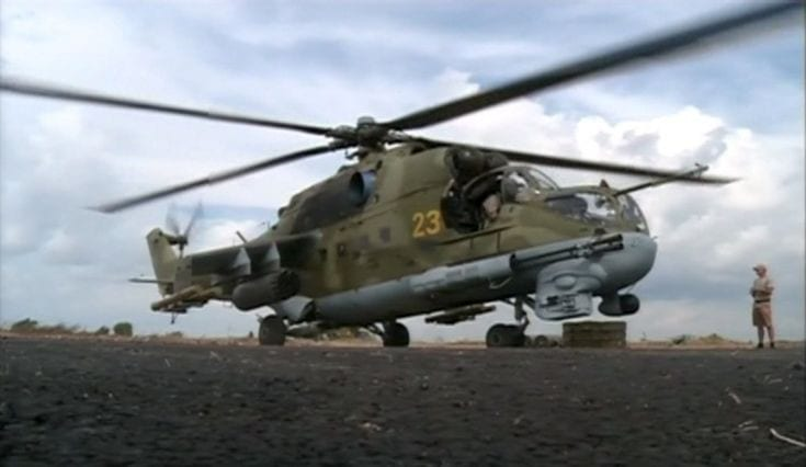 A still image from a October 6, 2015 footage shows a Russian air force helicopter on the tarmac of Heymim air base near the Syrian port town of Latakia. The Syrian army and allied militia carried out ground attacks on insurgent positions in Syria on Wednesday backed by Russian air strikes, in what appeared to be their first major coordinated assault since Moscow intervened last week, a monitor said. REUTERS/RURTR via Reuters TV ATTENTION EDITORS - THIS IMAGE HAS BEEN SUPPLIED BY A THIRD PARTY. IT IS DISTRIBUTED, EXACTLY AS RECEIVED BY REUTERS, AS A SERVICE TO CLIENTS. REUTERS IS UNABLE TO INDEPENDENTLY VERIFY THE AUTHENTICITY, CONTENT, LOCATION OR DATE OF THIS IMAGE. FOR EDITORIAL USE ONLY. NOT FOR SALE FOR MARKETING OR ADVERTISING CAMPAIGNS. NO SALES. NO ARCHIVES. RUSSIA OUT. NO COMMERCIAL OR EDITORIAL SALES IN RUSSIA      TPX IMAGES OF THE DAY