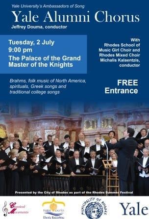 Συναυλία της Yale Alumni Chorus υπό την Διεύθυνση του Jeffrey Dumma στο Παλάτι του Μεγάλου Μαγίστρου