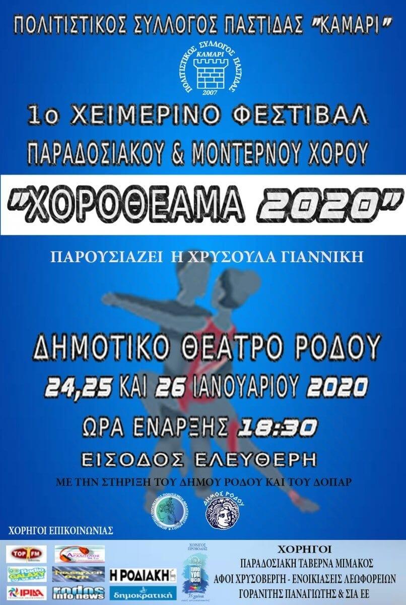 Το πρόγραμμα του 1ου Χειμερινού Φεστιβάλ Παραδοσιακού και Μοντέρνου Χορού «Χοροθέαμα 2020»
