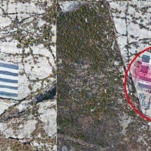 Νέα πρόκληση: Τούρκοι έριξαν με drone κόκκινη μπογιά σε ελληνική σημαία
